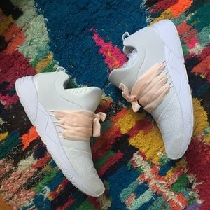 SOLD Arkk Copenhagen White Sneakers with pink lace